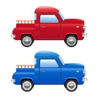 Retro pick-up car isolated on white background vector