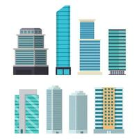 Skyscraper city buildings set isolated on white background
