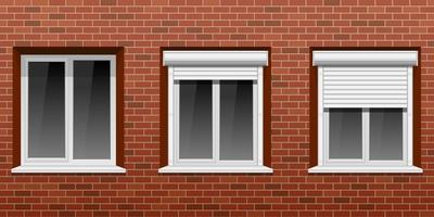 ventanas en pared de ladrillo vector