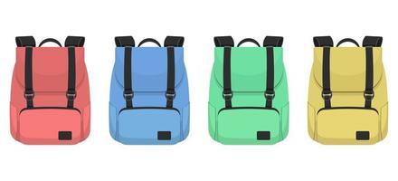 Conjunto de mochila aislado sobre fondo blanco. vector