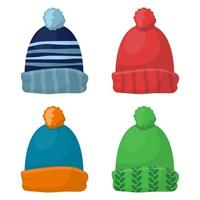 Winter cap set isolated on background vector