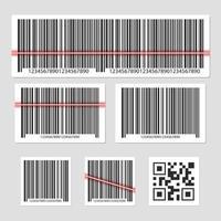 conjunto de código de barras aislado sobre fondo gris