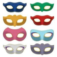 Carnival mask set isolated on white background vector
