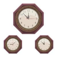 Vintage wall clock isolated on white background vector
