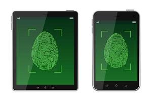 Unlock fingerprint scanning  vector