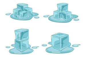 cubo de gelo isolado no fundo branco vetor