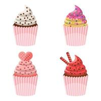 Delicious cupcakes isolated on white background vector
