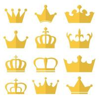 Royal crown set isolated on white background vector