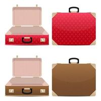 Closed and opened suitcase set isolated on white background