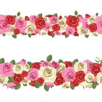 Seamless flower garland isolated on white background