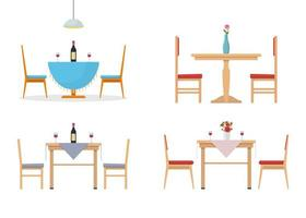 Dining table set isolated on white background vector