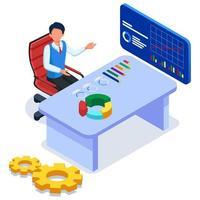 Business worker doing data analysis vector
