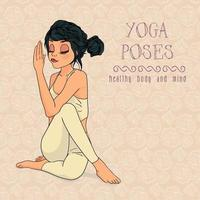Hand drawn woman in yoga pose vector