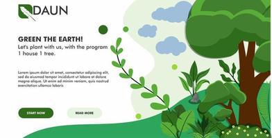Green landscape landing page