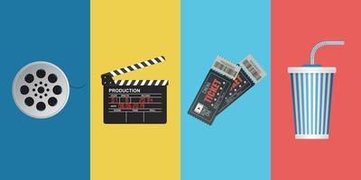conjunto de objetos de cine vector