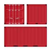 conjunto de contêiner de carga vermelho vetor