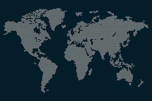Grey dots world map  vector