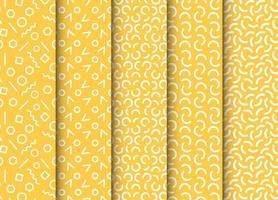 Set of seamless patterns in memphis style