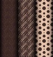 Set of brown dot and line seamless patterns