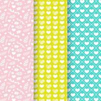 Set of heart and leaf seamless patterns