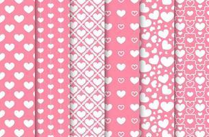 Set of heart seamless patterns