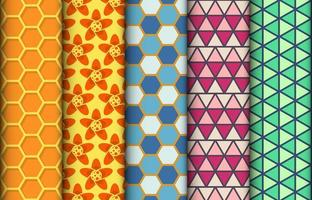 Set of colorful geometric seamless patterns vector