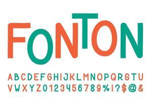 Retro line sans serif font vector