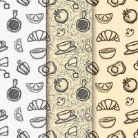 Set of coffee themed doodle seamless patterns