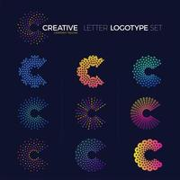 Set of colorful dot and line letter C logos vector