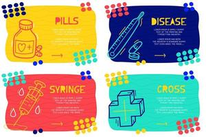 Doodle style medical landing page set vector