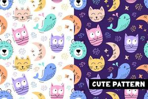 Seamless pattern with funny animal faces
