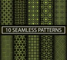 Set of green geometric patterns vector