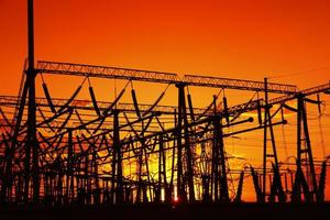 The silhouette of high voltage substations