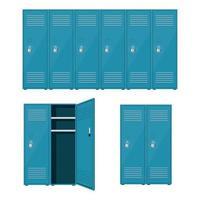 Metal school locker set vector