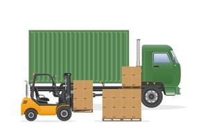 Green cargo truck delivery with forklift