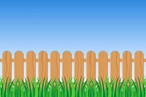 Green grass and fence  vector