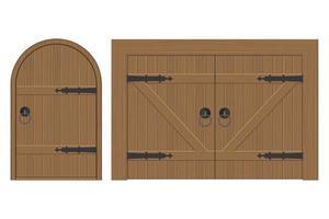 Old wooden door set vector