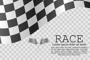 Race flags and checkered pattern design vector