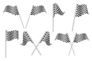 Checkered race flags set