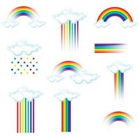 Set of colorful rainbows and clouds