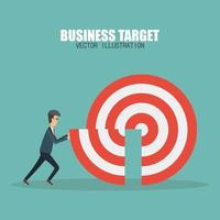 Business man pushing missing target piece vector