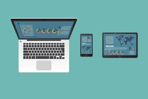 Business laptop, tablet and smartphone set vector
