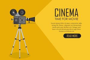 Retro cinema projector landing page vector