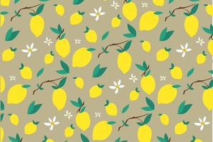 Lemon and Leaf Flower Pattern  vector