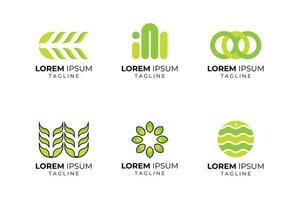 conjunto de logotipo de empresa de forma abstracta verde
