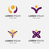 conjunto de logotipo de empresa de persona abstracta