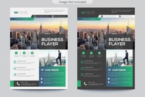 folleto de negocios degradado verde azul
