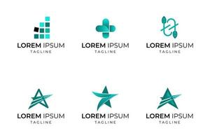 Star and other abstract shape business logo set vector
