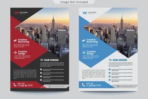 folleto de negocios de forma de ángulo rojo y azul