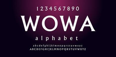 White Slight Serif Font vector